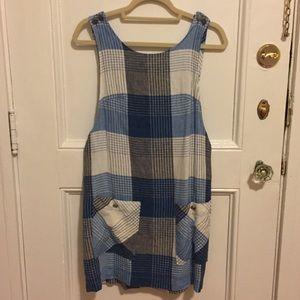 Linen Overall Plaid Dress